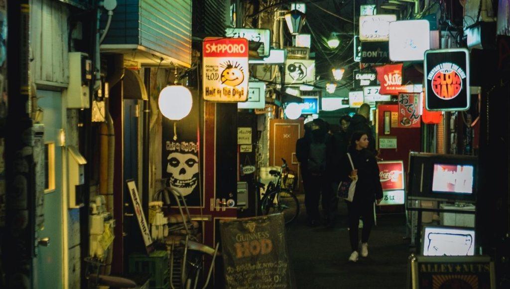The narrow alleyways of the Golden Gai