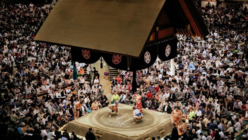 A traditional Sumo fight in Ryogoku
