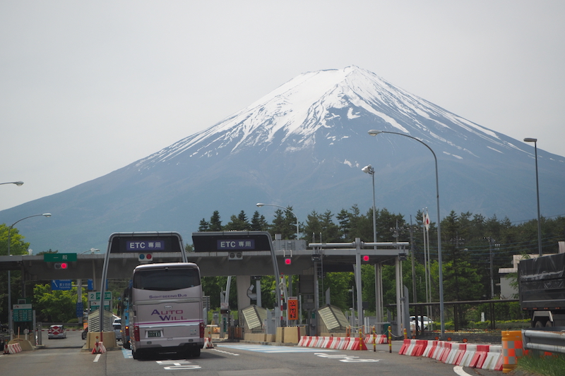 A highway bus heading to  Kawaguchiko from Tokyo