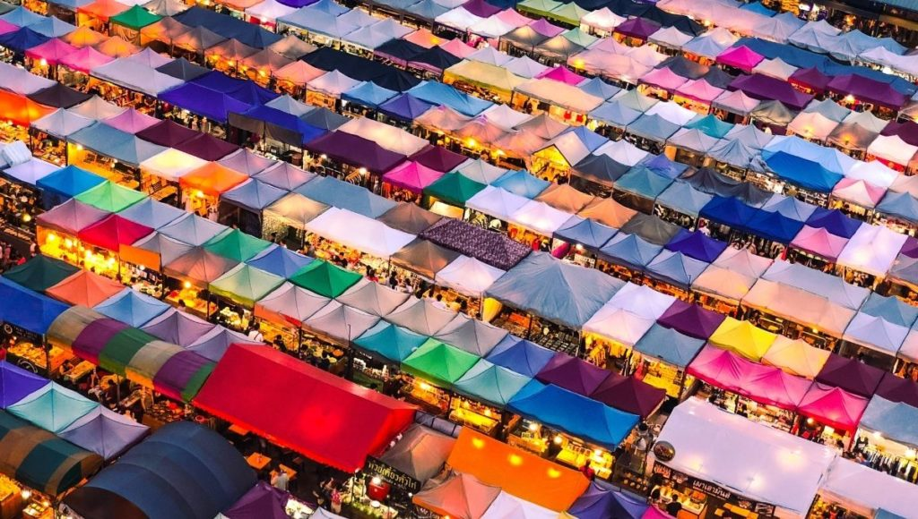 A photo from above looking down at the Chatuchak Weekend Market
