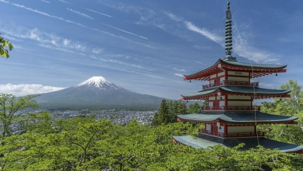 What To Do In Kawaguchiko? a visit to the Chureito Pagoda is a must. This is the view from the top looking back to Mt Fuji