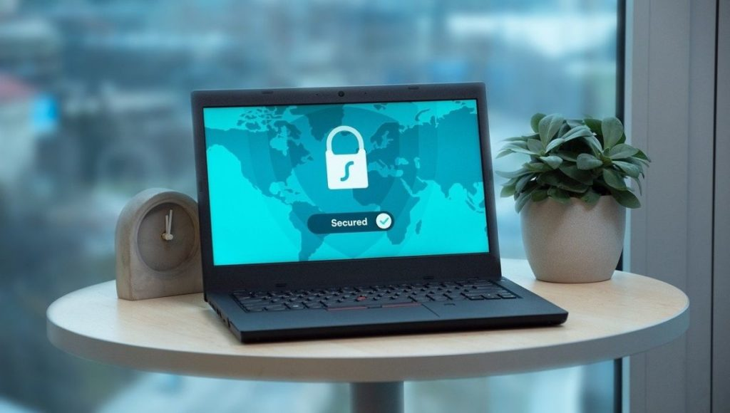 A laptop on a table showing a VPN