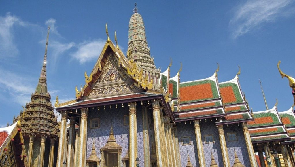 A close up picture of a temple in the Grand Palace enclosure