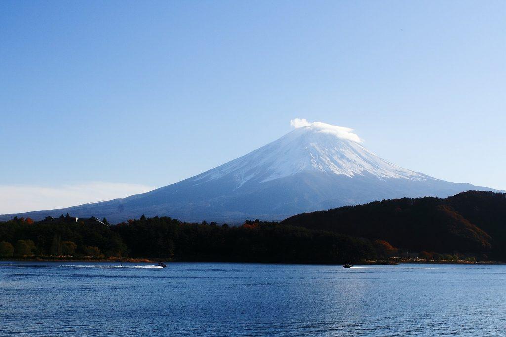 view of Mt Fuji from Lake Kawaguchi