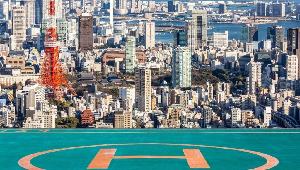 A helipad in Tokyo for getting from Tokyo Airport to City Center