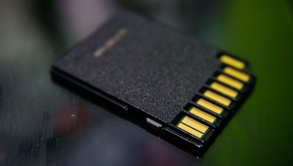 A Micro SD memory card on a table