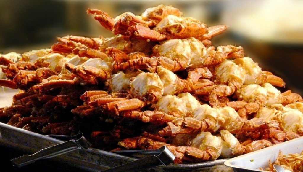 A stack of fried crab at a local marketing in Taipei