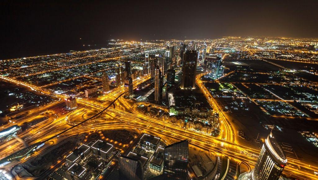 Dubai city night scene
