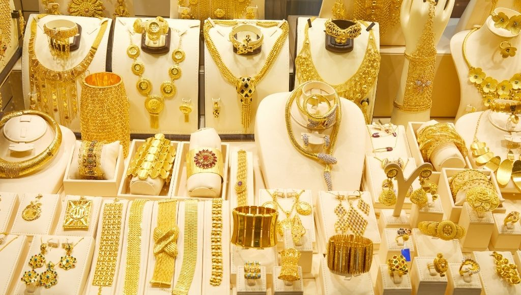 Dubai gold souk market with jewellery and necklaces