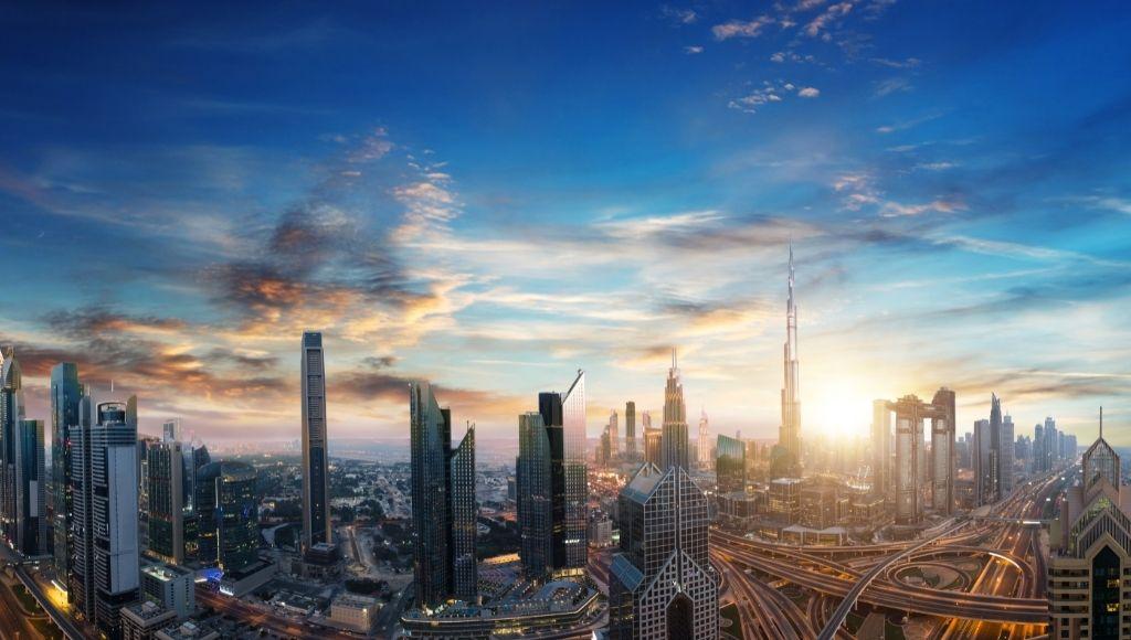 Dubai sunset view over downtown dubai