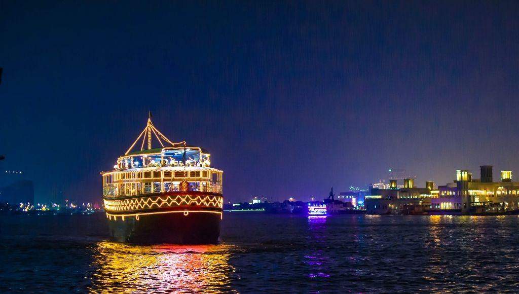 Night scene of dubai marina cruise