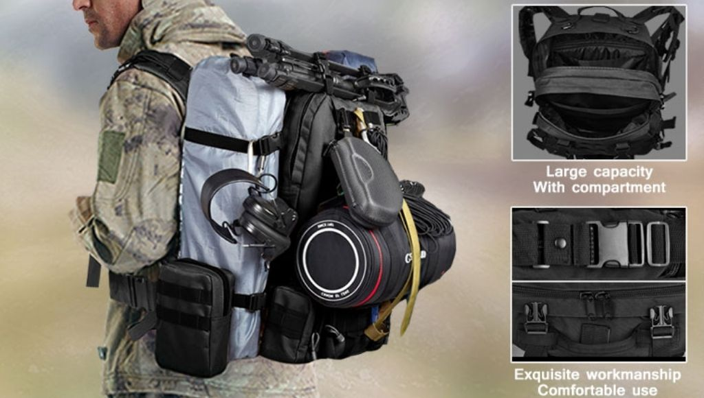 A military man stands with a tactical backpack and some life-saving instrument