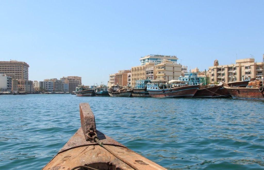 A Abra boat on the water in Dubai
