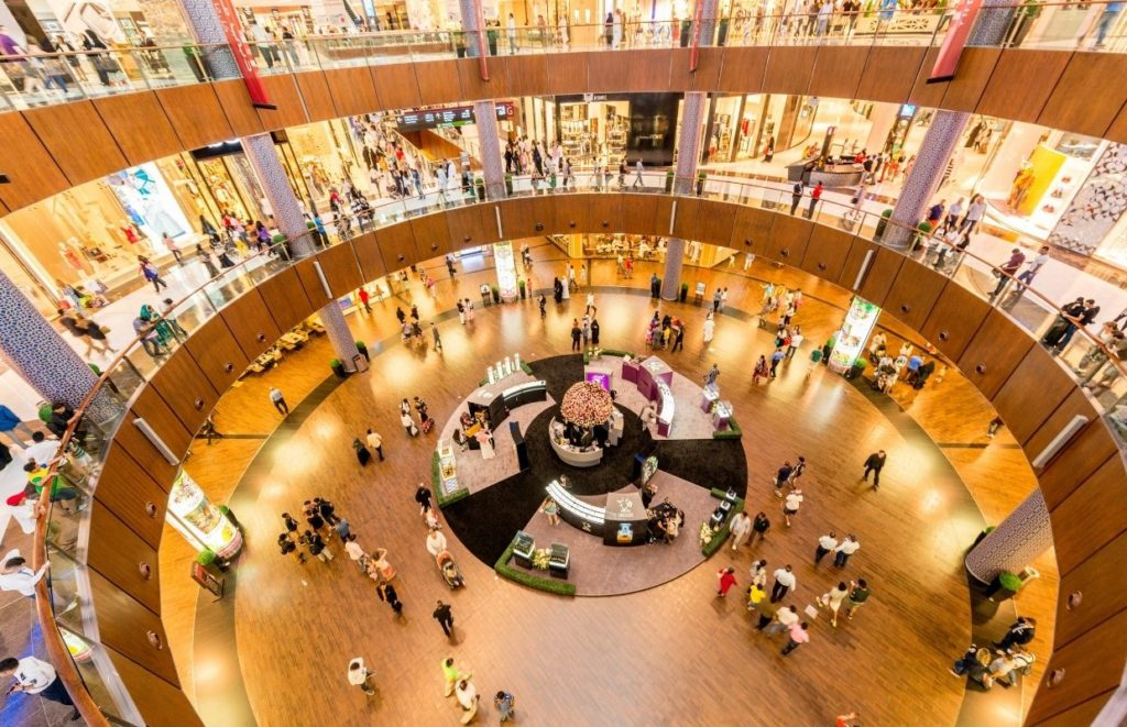 Things to do in Dubai on a Budget - The inside of the Dubai Mall all lit up
