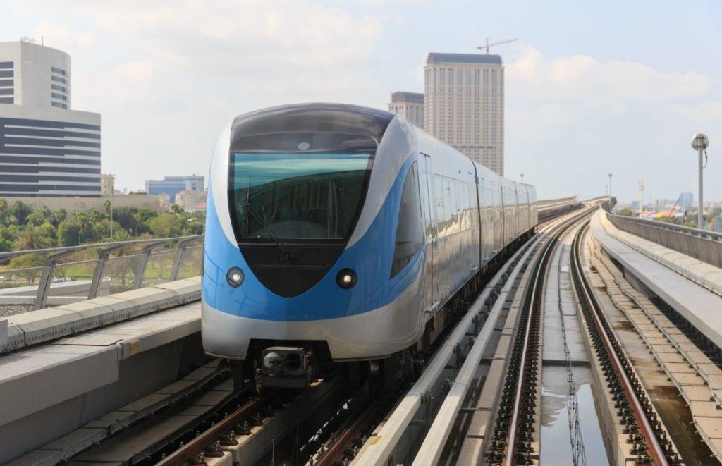 A train in the Dubai Metro