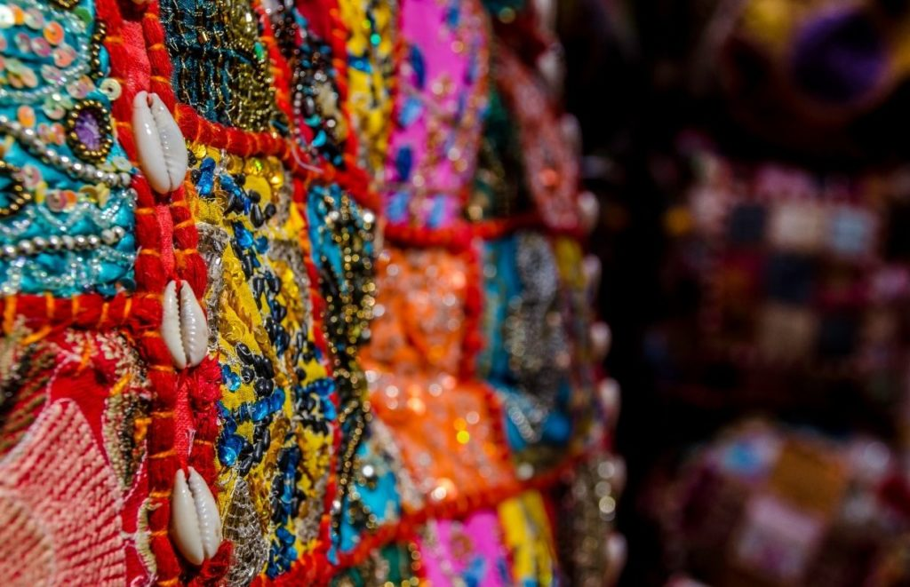 Some colorful fabric in a Dubai Souk